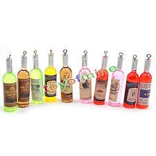 10pcs New Acrylic Wine Bottle Shape Charm Pendant Decor Craft Mixed Colors DIY