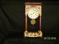 Antique c19th Century French Pillar Mantle Burl Wood Case Clock
