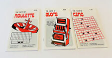 Set of Three Vintage Gambler's Book Club Guides: Roulette Slots & Keno (1978-198
