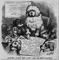 THOMAS NAST DOGS LAYING DOWN THE LAW HARPER'S WEEKLY ENGRAVING EDWIN LANDSEER