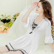 NEW Sexy Womens Silk Satin Pajamas Set Sleepwear&Robes Nightdress Nightgown P039
