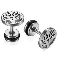 Stainless Steel Tree of Life Stud Earring Fake Ear Gauge Illusion Earrings 2pcs