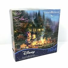 "NEW Thomas Kinkade Mickey and Minnie Sweetheart Campfire 750 Pc Puzzle 24"" x 18"""