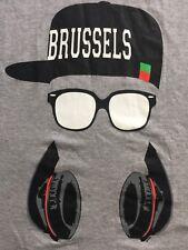 Org. Fox Brussels Hat, Sun Glass Headphones Men's Hip Hop Gray Rare T-shirt M