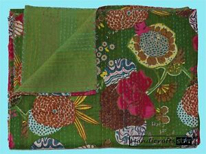 Home Bedding Kantha Quilt Olive Green Color Bedspread Cotton Throw Indian Ralli
