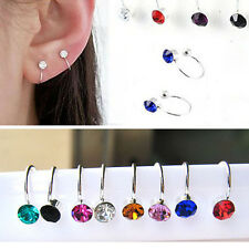 NEW Silver Ear Wrap Earring Crystal Cuff Earrings Stud Clip On Punk Fashion Gift