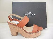 Womens Shoes - Coach - Quartz Platform Sandal - Saddle - Size 10M - NWB