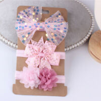 3Pcs/Sets Baby Hair Accessories Newborn Photography Lace Flower Bow Headband ly