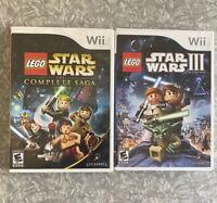 LEGO Star Wars Complete Saga & III Clone War Nintendo Wii Complete w/ Manual Lot