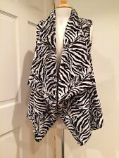 Michael Kors Faux Rabbit Fur Vest Sleeveless Jacket Cardigan Zebra M New $250