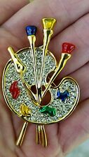 NEW KIRKS FOLLY ARTIST PAINTERS PALLET PIN ICY CRYSTALS GOLD TONE SIGNED