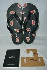 NEW Coach ZAK Signature Flip Flop Sandals Shoes Size 8 Navy Blue Watermelon