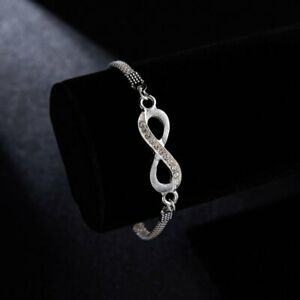 925 Silver Infinity Friendship Bridesmaid Bracelet Cubic Zircon Crystal Gifts