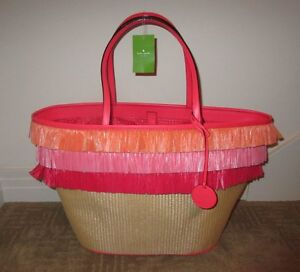 KATE SPADE Anabette Pond Place Straw HULA Pink Fringe Tote ~ NLA! Annette NWT!