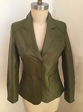 Metrostyle Woman's Solid Green Leather Blazer Jacket Size 8 NWT