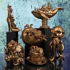 Bronze Steampunk Fantasy Gothic Skull Figurine Resin Ornament Statue Decor Gift