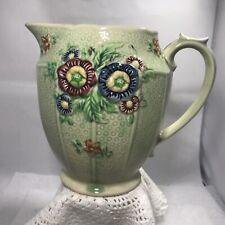 Vintage Japan Green Majolica Ceramic Juice Water Pitcher Art Pottery Vase