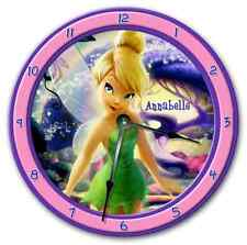 "10.5"" Tinkerbell Wall Clock - Kids Nursery Personalized Room Decor - 8017_Ftllc"