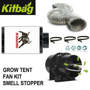 """Ox Hobby Carbon Filter Kit 4"""" Extraction Fan Duct Hydroponics grow tent Black"""