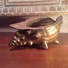 VINTAGE CONCH SHELL HEAVY BRASS PLANTER DOOR STOP
