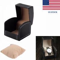 Black Single Watch Display Case PU Cushion Organizer Jewelry Gift Storage Box TN