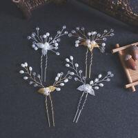 Women Wedding Crystal Pearl Hair Pin Bridal Clips Bridesmaid Tiara Hairpins VBUK
