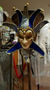 """24"""" x 22"""" Blue/Gold Harlequin Mardi Gras Mask with horns"""