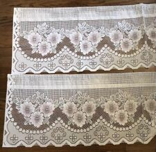 """Set Of Two White Lace Floral Pattern Roses Pink Valance Curtain USA 15""""Decor"""
