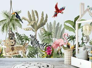 Jungle Animaux & Fleurs Papier Peint Photo Mural Enfants Chambre Géant