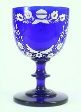 ! Antique Hand Painted Enameled Cobalt Glass Chalice Goblet Murano Moser Bohemia