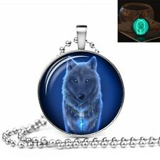UK GLOW IN THE DARK WOLF LARGE PENDANT NECKLACE / Jewellery Gift Idea