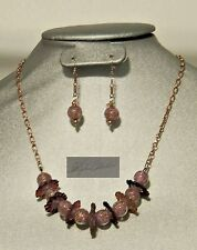 Berry Nice Pink Venetian 14kg Ca'd'oro bead & Handblown Flower Necklace Set