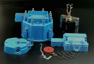 HEI Distributor Blue Cap w/ Rotor & Coil Cove Kit+50k Volt Coil For V8 Pontiac