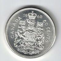 CANADA 1960 50 CENT HALF DOLLAR QUEEN ELIZABETH CANADIAN .800 SILVER COIN