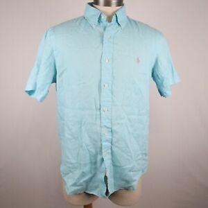 Ralph Lauren Men's Aqua Short Sleeve Button Down Shirt Linen Size Medium