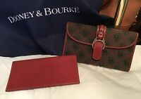 Dooney Bourke 2-Pc Leather Fabric DB Signature Logo Checkbook Wallet Red Black