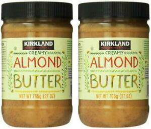 2 Jars Kirkland Signature Creamy Almond Butter, 27 oz Each