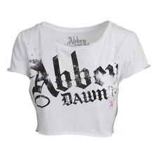 Abbey Dawn Womens Distressed Crop Top White