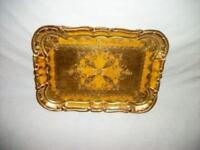 Italian Florentine Gilt Mustard Wood Tray Mid Century Regency Paris Apt