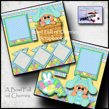 EASTER BABY BOY  ~  2 premade scrapbook pages paper piecing layout 12X12 CHERRY