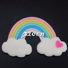 6pcs Colorful Resin Rainbow Heart Bridge Polymer Clay Decor Findings Craft 50611