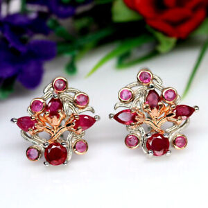 NATURAL PINK RUBY TWO TONE EARRINGS 925 SILVER STERLING