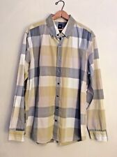 GAP Mens XL Button Down Shirt Casual BIG PLAID Yellow Gray EXTRA LARGE 17 171/2