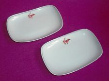 PAIR VIRGIN ATLANTIC UPPER CLASS CANAPE TRAYS /  PETITS FOURS DISHES 18 AVAIL