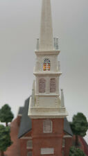 New England Brick Church Replica With Lighted Steeple Operates on 3 Aa Batteries