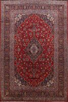 Vintage Traditional Floral Red/Navy Ardakan Area Rug Hand-Knotted Wool 10x13 ft