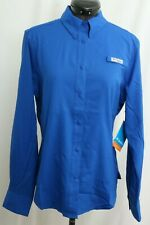 New Columbia PFG Embroidered Tamiami Blue Long Sleeve Button Up Shirt Women's XS