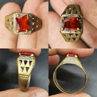 EUROPEAN FINDS CIRCA 200 - 300 AD ANCIENT ROMAN BRONZE RING WITH RED STONE