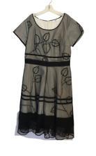 Eshakti Black Net Leaf Design Short Sleeve Full Skirt Dress