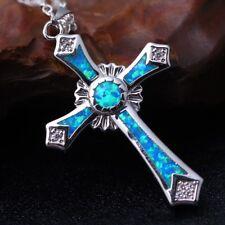 Crystal Blue Opal Kreuz Anhänger Halskette Charme Frauen Trendy Schmuck DE